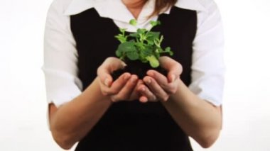 Woman Holding a plant in her hand — Stock Video #15382157