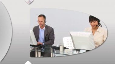 Animation presenting confident customer service representatives — Stock Video
