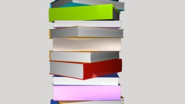 Tower of colorful books — Stock Video
