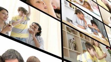 Family having fun at home — Stock Video