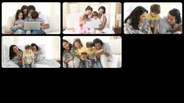 Montage of mirthful families having fun — Stock Video