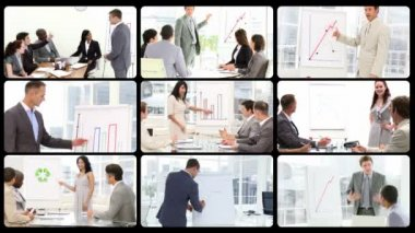 Montage of managers doing presentations — Stock Video