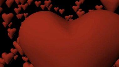 3d Falling Hearts — Stock Video #15385859