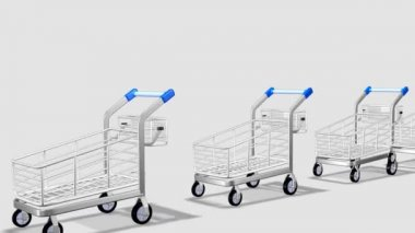 Trolleys in motion. Concept of consumer society — Stock Video