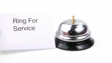 Service bell and human hand ringing footage — Stock Video
