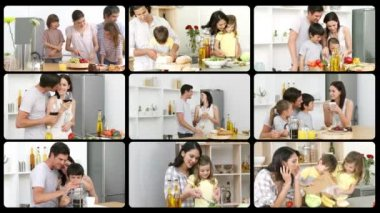 Montage of happy families in the kitchen — Stock Video