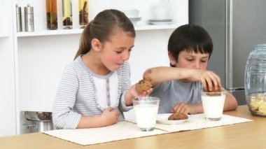 Brother and sister eating biscuits with milk — Stock Video