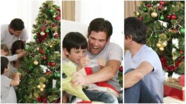 Family having fun at Christmas — Stock Video