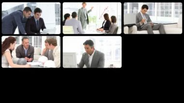 Montage of serious businessmen at work — Vídeo Stock