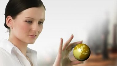 Business woman holding a Globe — Stock Video