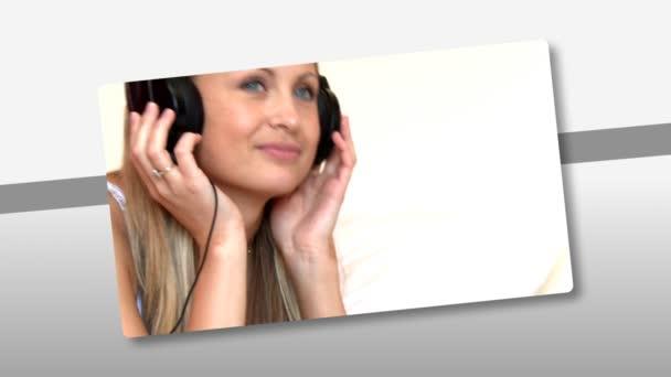 Montaje en escuchar música joven en casa — Vídeo de stock