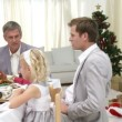 Stock Video: Homely Christmas Dinner with all the family