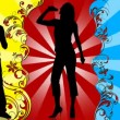 Animation of young silhouettes singing and dancing - Stockfoto