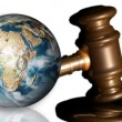 Stock Video: Earth and gavel. Concept of justice