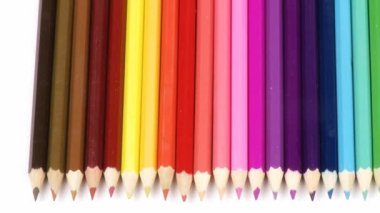Panorama of colorful pencils — Stock Video