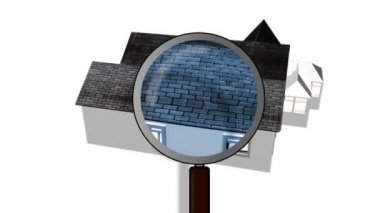 Magnifying glass examining a house. Architecture and home ownership — Stock Video