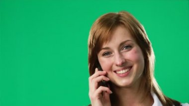 Green Screen Footage of a woman on the phone — Stock Video