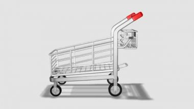 Trolley rotating. Consumerism concept — Stock Video