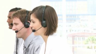 Close-up of smiling working in a call center — Stock Video