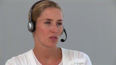 Portrait of a confident customer service agent — Stock Video