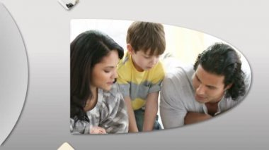 Joyful families having fun at home — Stock Video