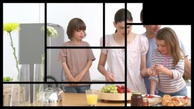 Animation of presenting 2 families in the kitchen — Stock Video
