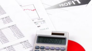 Calculating profits and taxes footage — Stockvideo