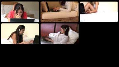 Radyant kadınların dizüstü kullanarak 3d animasyon — Stok video