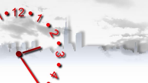 Reloj 3d en movimiento — Vídeo de stock