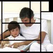 Stock animation of a man taking care of his family — Stock Video
