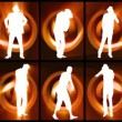 Animation of twelve men silhouettes dancing against orange and black background - Stock Photo