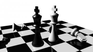 Animation of chess set. Stand off. Concept of rivalry — Stock Video