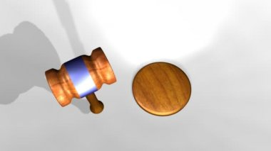 3D animation of a judge's gavel — Stock Video