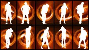 Animación de siluetas de doce hombres bailando sobre fondo naranja y negro — Vídeo de Stock