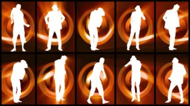 Animation of twelve men silhouettes dancing against orange and black background — Stock video