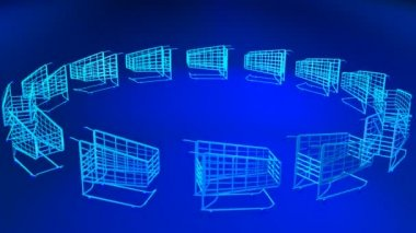 3D Shopping Trolleys — Stock Video