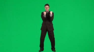 Happy businessman celebrating a success footage — Stock Video