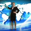 Animation of a businesswoman showing a business graph — Stock Video