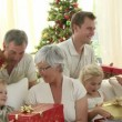 Happy Family at Christmas — Stock Video #15413739