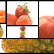 Assortment of Fruit and veg on a film reel - Stock Photo