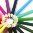 Colour pencils in a circle turning like a wheel against white — Stock Video