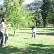 Family playing in a park with a ball — Stock Video