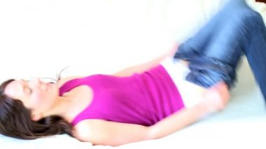 Young brunette woman wearing jeans — Stock Video