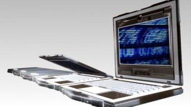 Animação de abertura de laptops — Vídeo stock