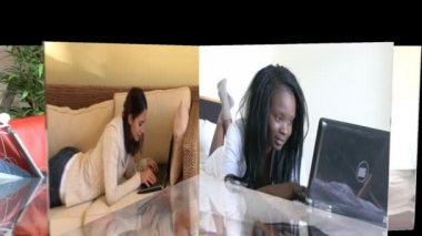 Stock animation showing jolly women using a laptop — Stock Video