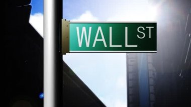 Animation of Wall Street in New York. Finance place — Stock Video #15411817