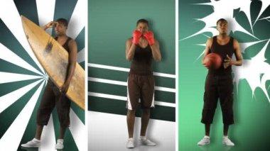 Animace afrického chlapce dělat různé sporty ve vysokém rozlišení — Stock video