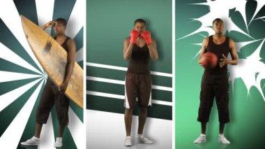 Animação de um rapaz africano fazendo diferentes esportes em alta definição — Vídeo Stock
