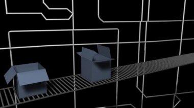 Animación de la fábrica que empaqueta — Vídeo de Stock