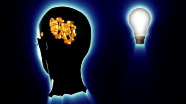 Human head with gears and cogs and a lightbulb. Concept of thinking a brilliant idea — 图库视频影像